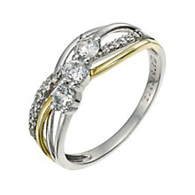 Sterling Silver & 9ct Gold Cubic Zirconia Twisty Ring - Product number 9625178