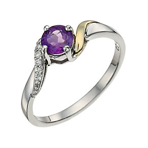 Silver & 9ct Gold Amethyst & Cubic Zirconia Twist Ring - Product number 9625348