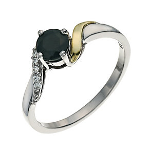 Silver & 9ct Gold Sapphire & Cubic Zirconia Twist Ring - Product number 9625763