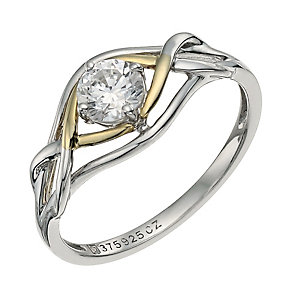 Sterling Silver & 9ct Gold Cubic Zirconia Swirl Ring - Product number 9625917