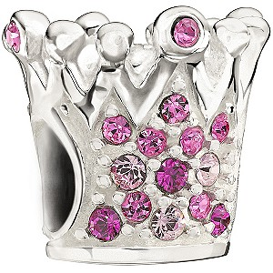 Chamilia - Sterling Silver Pink Crystal Crown Bead - Product number 9627103