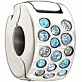 Chamilia - Sterling Silver Glimmer Blue & Clear Crystal Lock - Product number 9627359