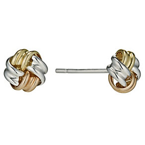 Sterling Silver, 9ct Rose Gold & 9ct Gold Knot Stud Earrings - Product number 9627707