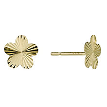 9ct Gold Diamond Cut Flower Stud Earrings - Product number 9627766