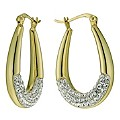 Eternal Crystal Silver & Gold Plated Oval Creole Earrings - Product number 9627901
