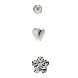 H Samuel Sterling Silver Three Nose Studs Set product image