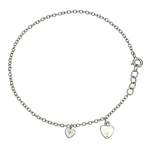 Sterling Silver Cubic Zirconia Double Heart Anklet - Product number 9628010