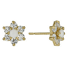 9ct Gold Opal Cubic Zirconia Flower Stud Earrings - Product number 9628061