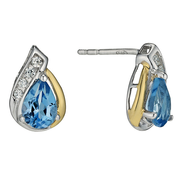Sterling Silver & 9ct Gold Blue Topaz Pear Drop Earrings - Product number 9628134