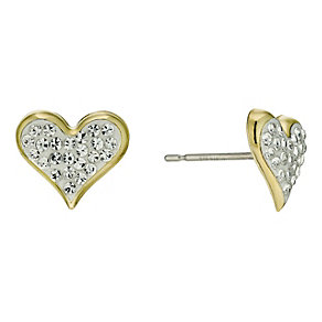 Sterling Silver & 9ct Gold Crystal Heart Stud Earrings - Product number 9628150