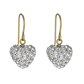 9 Carat Yellow Gold Stone Set Heart Drop Earrings - Product number 9628215