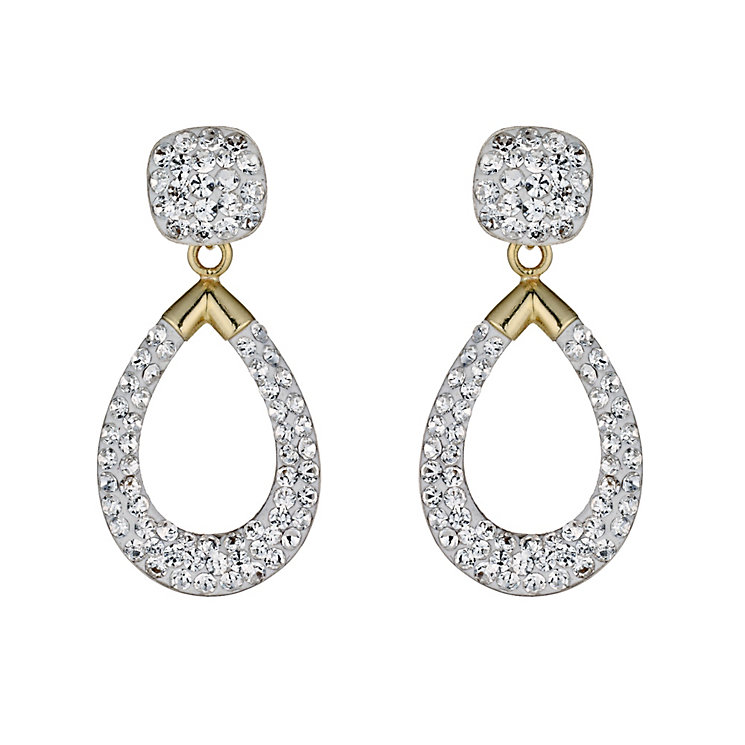 9 Carat Yellow Gold Crystal Drop Earrings - Product number 9628231