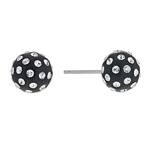 9ct White Gold Black and Crystal Stud Earrings - Product number 9628320