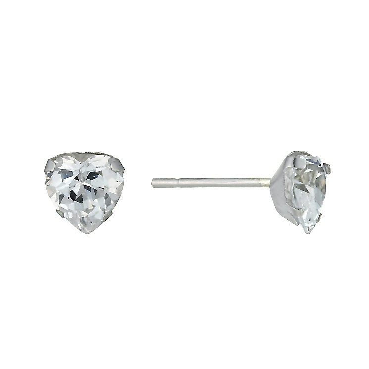 9ct White Gold Cubic Zirconia Heart Studs - Product number 9628363