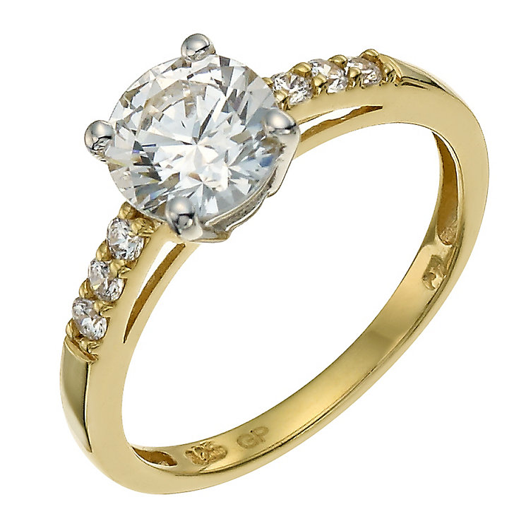 Ct Gold Cubic Zirconia Ring Size T
