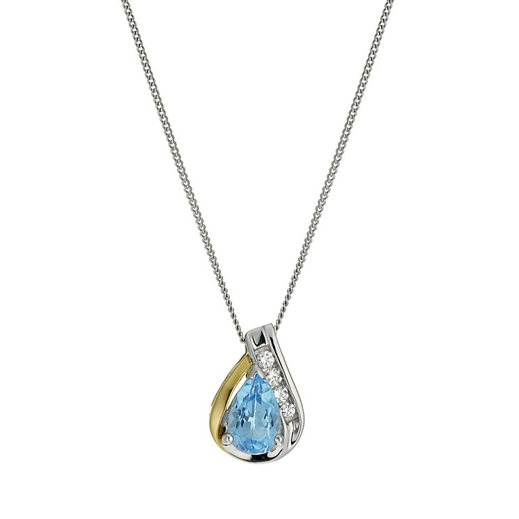 "Sterling Silver & 9ct Gold Blue Topaz Pear Pendant 18"" - Product number 9629637"