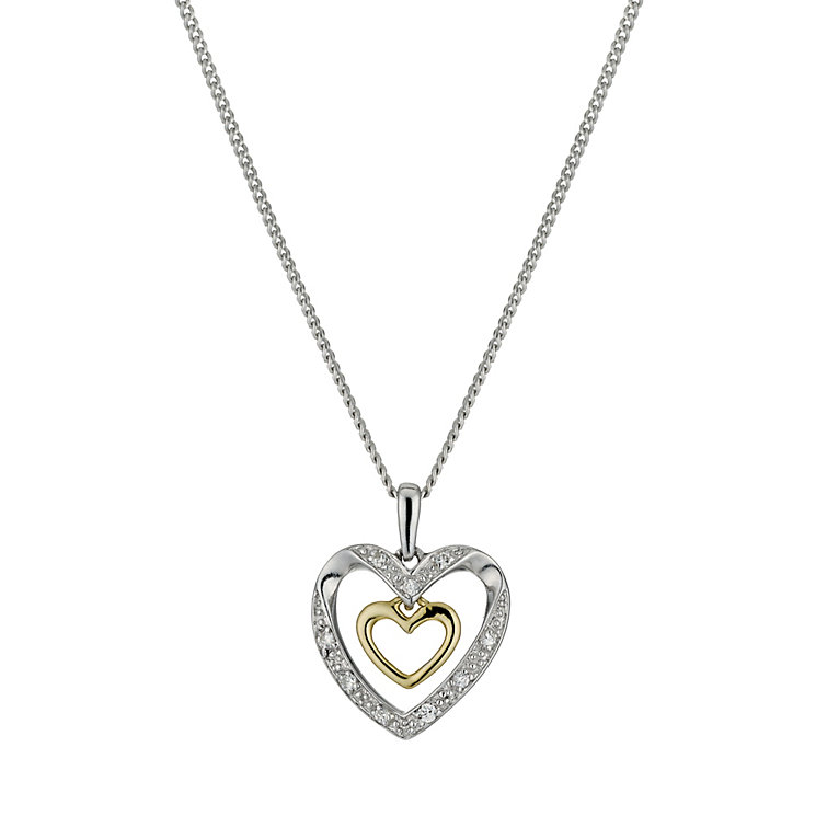 """Silver & 9ct Gold Cubic Zirconia Double Heart Pendant 18"""" - Product number 9629769"""