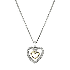 "Silver & 9ct Gold Cubic Zirconia Double Heart Pendant 18"" - Product number 9629769"