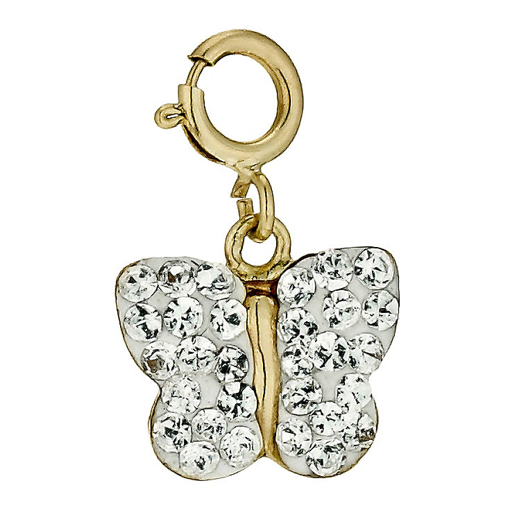 9ct Gold Crystal Butterfly Charm - Product number 9629858