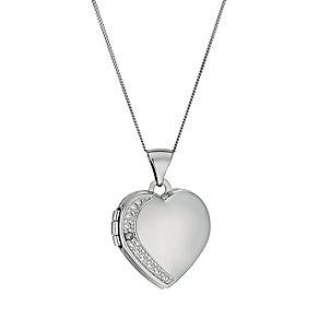 9ct White Gold Diamond Set Heart Locket 18