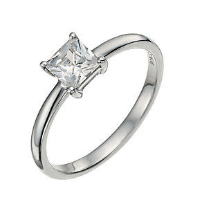 Sterling Silver 9ct White Rolled Gold Square Solitaire Ring - Product number 9630724