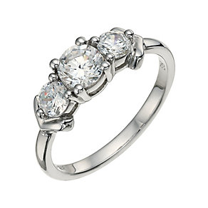 Sterling Silver 9ct White Rolled Gold Three Stone Ring - Product number 9631372