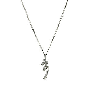 9ct white gold diamond squiggle pendant - Product number 9632328