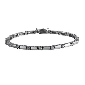 9ct white gold one carat diamond bar link bracelet - Product number 9632352