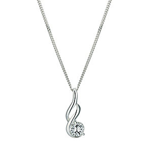 "Sterling silver cubic zirconia fancy 18"" pendant - Product number 9632859"