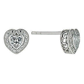 Silver cubic zirconia vintage style heart studs - Product number 9632999
