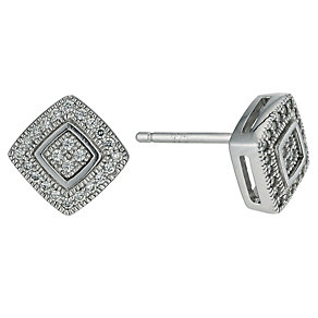 Silver pave set cubic zirconia pave set earrings - Product number 9633103