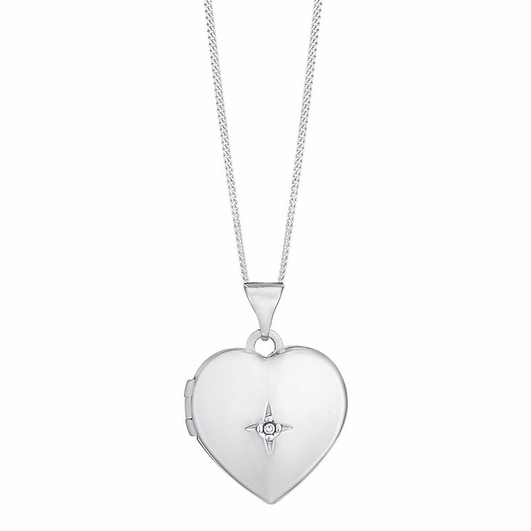 "Sterling silver diamond set heart locket 18"" - Product number 9633448"