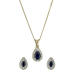 9ct gold diamond and sapphire pendant and earrings set - Product number 9633464