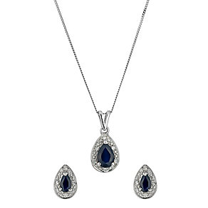9ct white gold diamond and sapphire pendant and earrings set - Product number 9633472