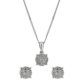 9ct white gold half carat pendant & earrings set - Product number 9633502