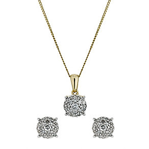 9ct gold half carat pendant and earrings set - Product number 9633510