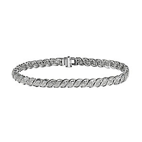 9ct white gold one carat diamond bracelet - Product number 9633529