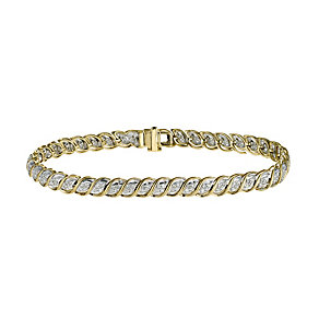 9ct gold one carat diamond bracelet - Product number 9633537