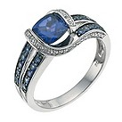 9ct white gold diamond & created sapphire ring - Product number 9637184