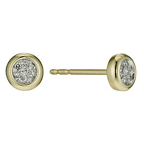 9ct yellow gold diamond cluster stud earrings - Product number 9637311