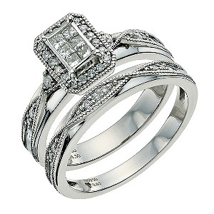 Palladium 1/3 Carat Diamond Bridal Set - Product number 9640657