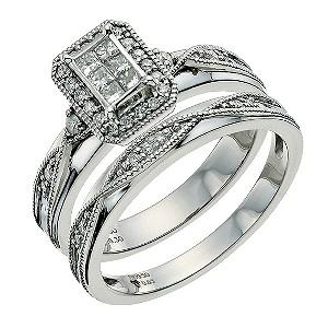 Perfect Fit Palladium 950 1/3 Carat Diamond Bridal Set