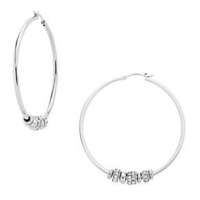 DKNY ladies' stainless steel stone set bead hoops - Product number 9642471