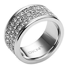 DKNY stainless steel stone set three row ring - size M1/2 - Product number 9643443