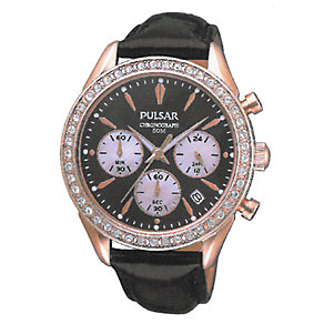 Pulsar Ladies' stone set rose gold brown strap watch - Product number 9644148