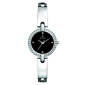 Bulova Ladies' Crystal Set Black Dial Bangle Watch - Product number 9644261