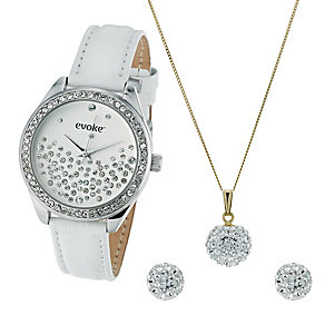 Evoke 9ct Gold Crystal Pendant, Watch and Earrings Set - Product number 9645063