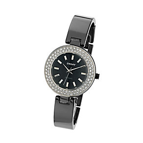 DKNY ladies' stone set black ceramic bangle watch - Product number 9645829