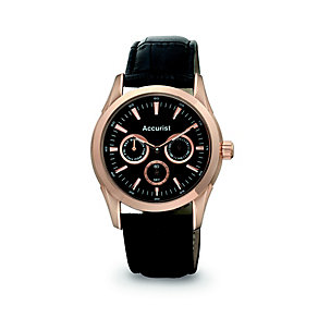 Accurist Men's Rose Gold Brown Leather Strap Watch - Product number 9648526