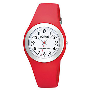 Lorus Children's White Dial Red Plastic Strap Watch - Product number 9649107